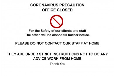 Office closing due to Corona Virus